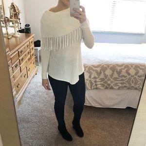Sweaters - Cream Fringe Sweater